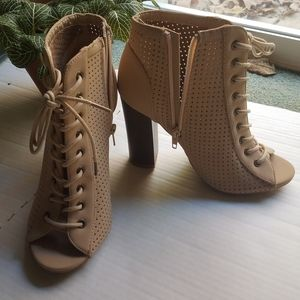 Bamboo Tan Mesh Lace Up High Heels